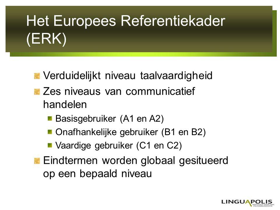 Het Europees Referentiekader (ERK) Verduidelijkt niveau taalvaardigheid Zes niveaus van communicatief handelen Basisgebruiker (A1 en A2) Onafhankelijk