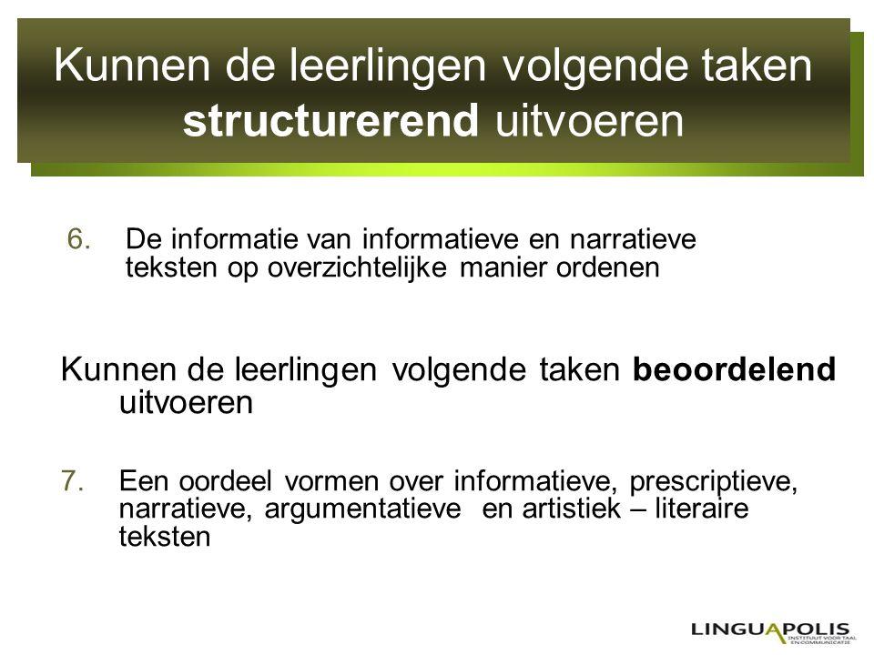 Kunnen de leerlingen volgende taken structurerend uitvoeren 6.De informatie van informatieve en narratieve teksten op overzichtelijke manier ordenen K