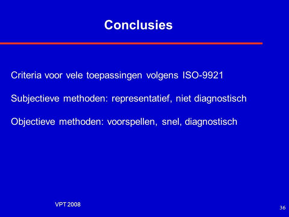VPT 2008 35 STIPA (STI Public Address, 2001) Evaluatie voor Public Address Omvat: akoestische omgeving, bandbreedtebeperking, oversturingsvervorming Z