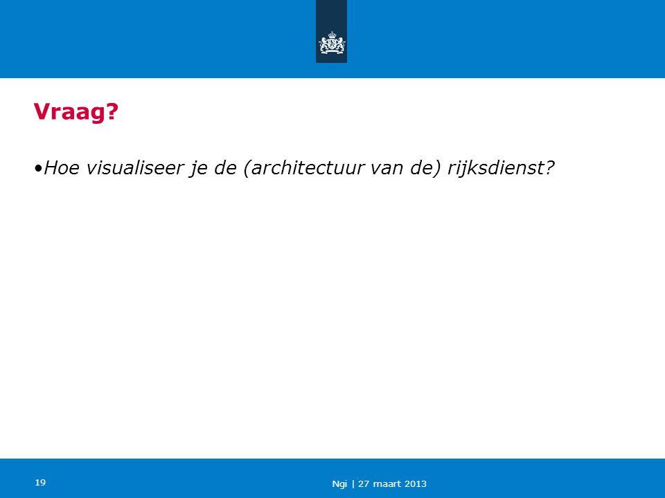 Ngi   27 maart 2013 19 •Hoe visualiseer je de (architectuur van de) rijksdienst? Vraag?