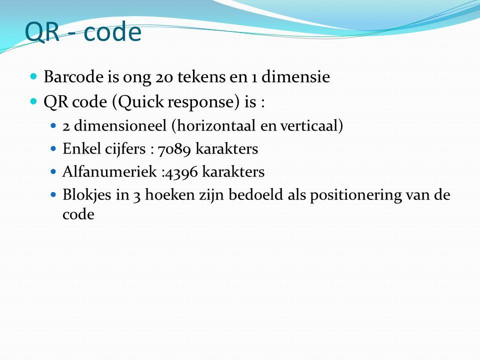 QR - code  Barcode is ong 20 tekens en 1 dimensie  QR code (Quick response) is :  2 dimensioneel (horizontaal en verticaal)  Enkel cijfers : 7089 karakters  Alfanumeriek :4396 karakters  Blokjes in 3 hoeken zijn bedoeld als positionering van de code