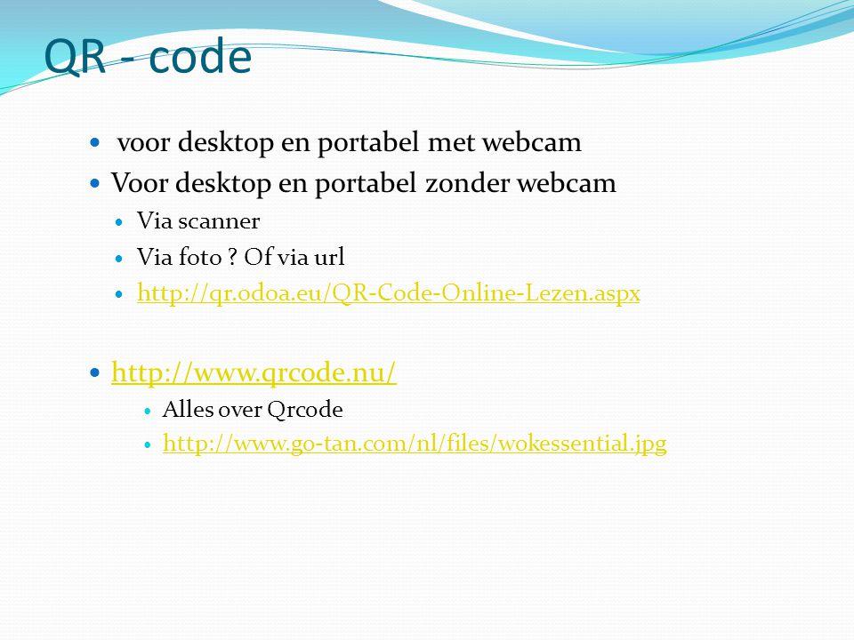 QR - code  voor desktop en portabel met webcam  Voor desktop en portabel zonder webcam  Via scanner  Via foto .