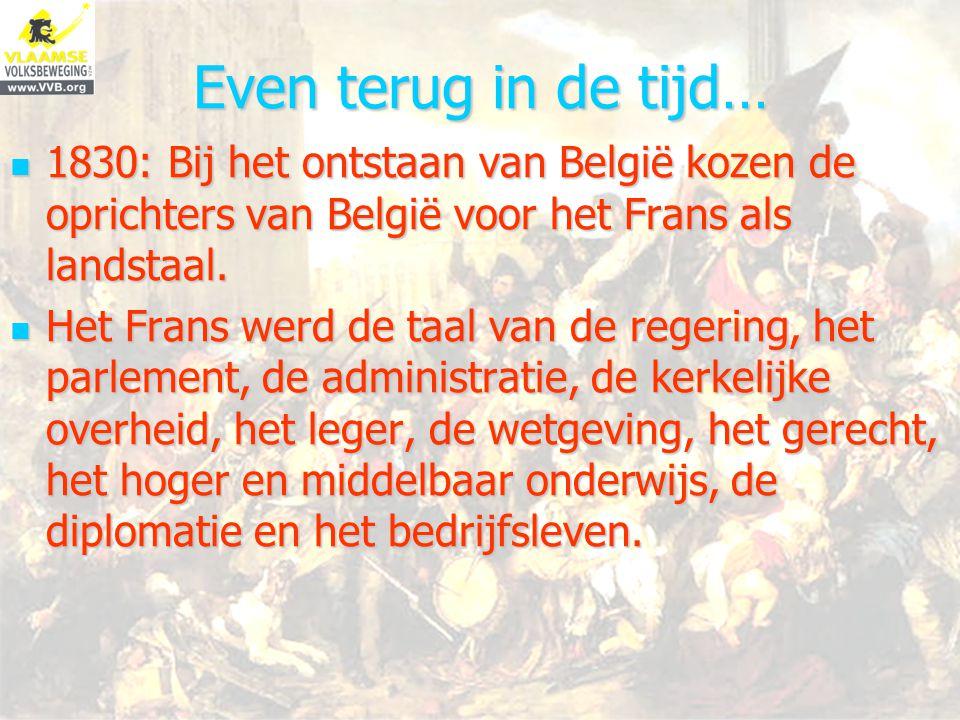 1921 Toen duidelijk werd dat het onmogelijk was om Vlaanderen geheel te verfransen, kozen de politici niet voor een tweetalig België maar voor een ééntalig Wallonië en een ééntalig Vlaanderen.