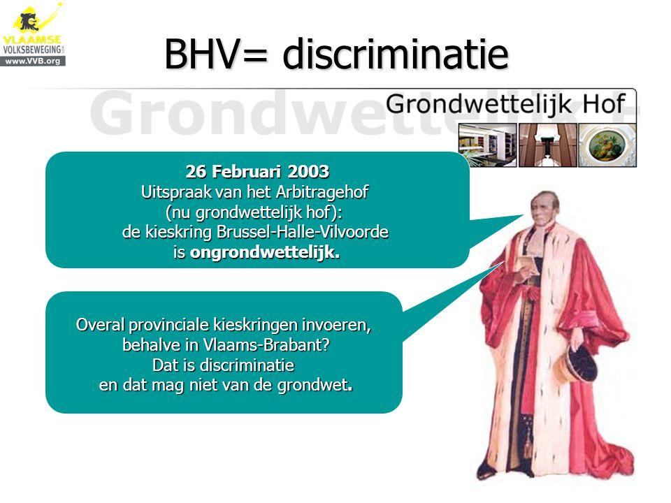 BHV= discriminatie 26 Februari 2003 Uitspraak van het Arbitragehof (nu grondwettelijk hof): de kieskring Brussel-Halle-Vilvoorde is ongrondwettelijk.