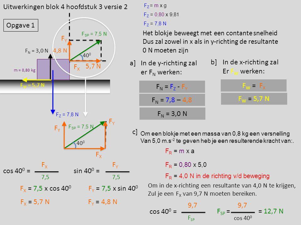 Uitwerkingen blok 4 hoofdstuk 3 versie 2 m = 0,80 kg F SP = 7,5 N 40 0 FXFX FYFY F Z = m x g F Z = 0,80 x 9,81 F Z = 7,8 N a] Het blokje beweegt met e