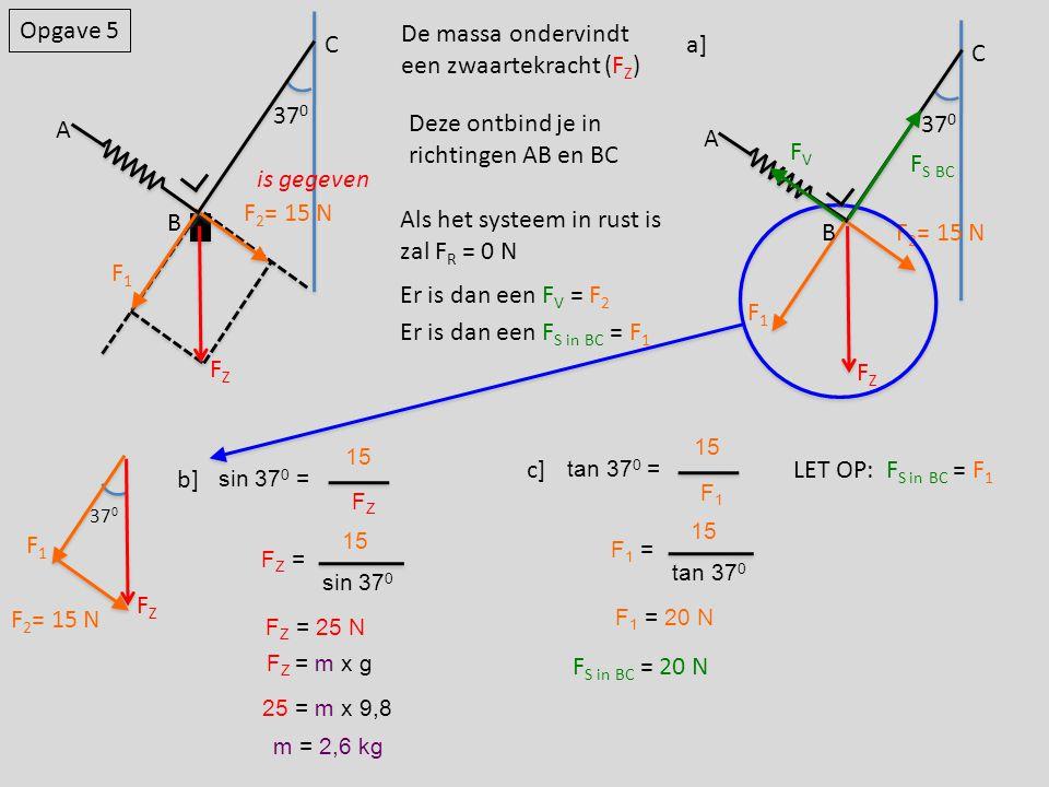 Opgave 5 FZFZ B 37 0 A C F1F1 F 2 = 15 N sin 37 0 = FZFZ 15 FZ =FZ = sin 37 0 15 F Z = 25 N a] F S BC FVFV FZFZ B 37 0 A C F1F1 F 2 = 15 N De massa on