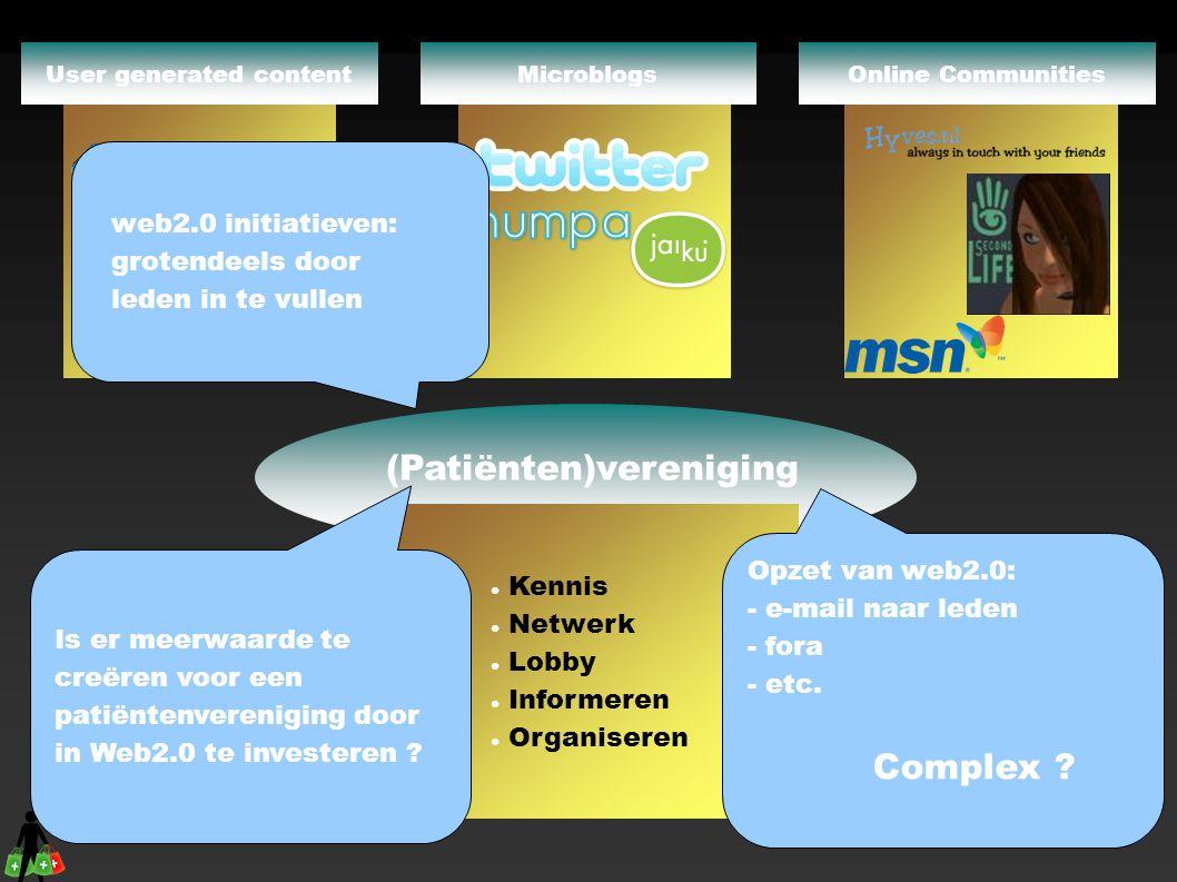 (Patiënten)vereniging  Kennis  Netwerk  Lobby  Informeren  Organiseren Online CommunitiesMicroblogs Wiki s User generated content Opzet van web2.0: - e-mail naar leden - fora - etc.