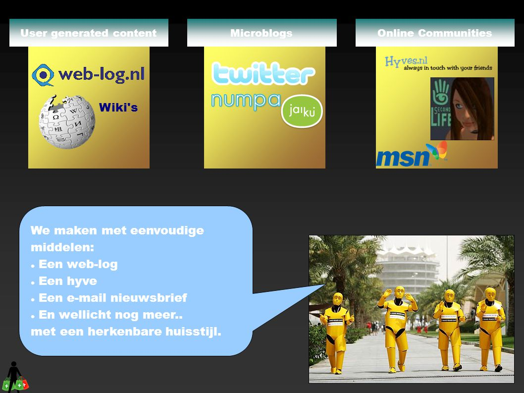 Online CommunitiesMicroblogs Wiki's User generated content We maken met eenvoudige middelen:  Een web-log  Een hyve  Een e-mail nieuwsbrief  En we