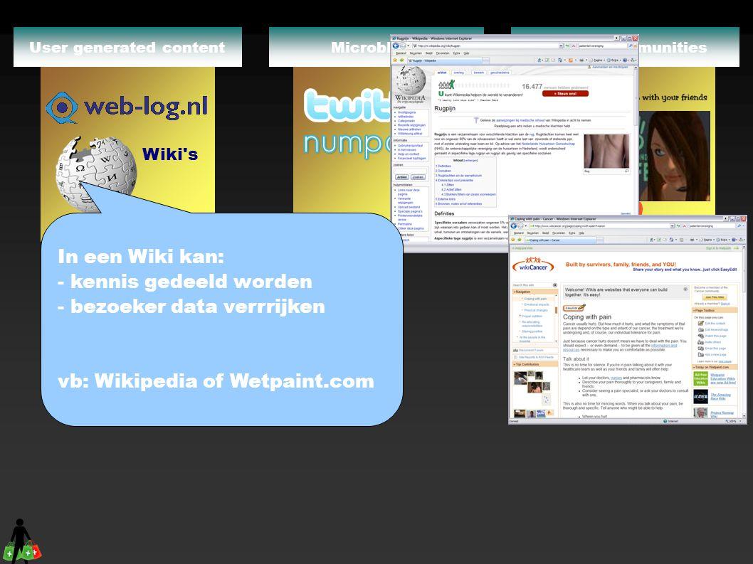 Online CommunitiesMicroblogsUser generated content Tot straks !