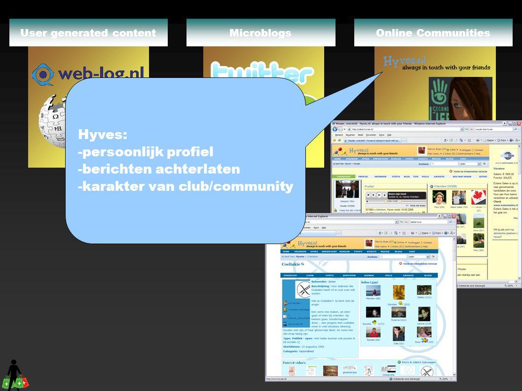 Online CommunitiesMicroblogs Wiki's User generated content Hyves: -persoonlijk profiel -berichten achterlaten -karakter van club/community