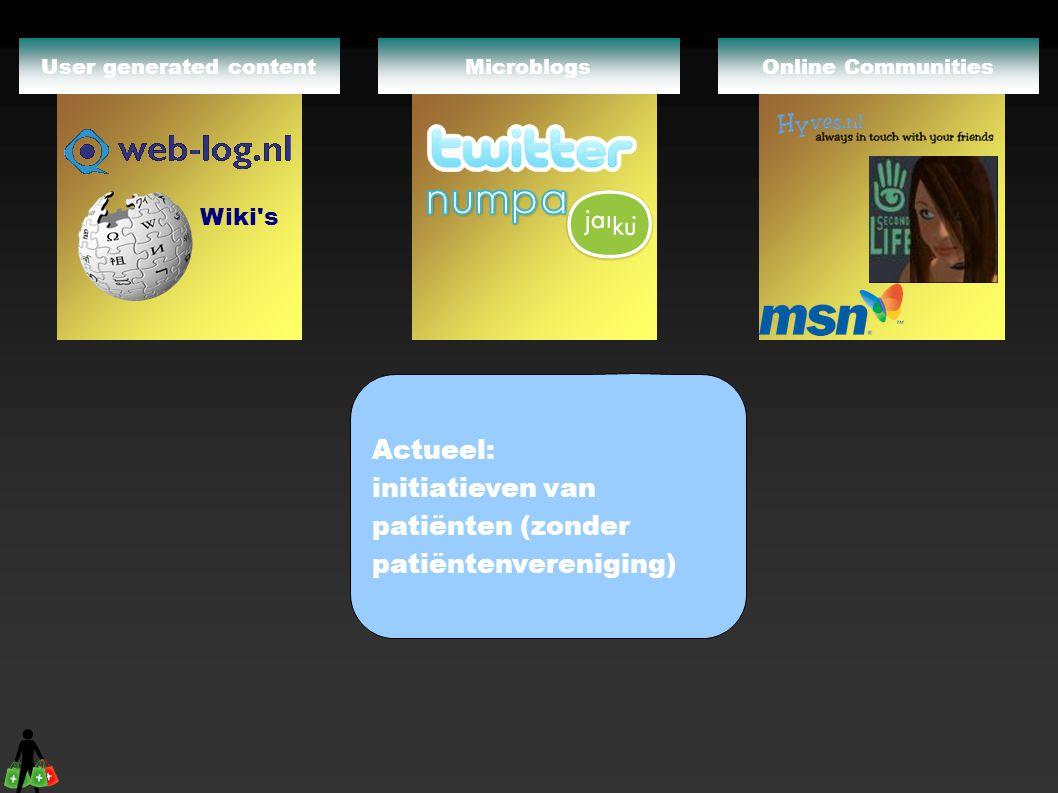 Online CommunitiesMicroblogs Wiki's User generated content Actueel: initiatieven van patiënten (zonder patiëntenvereniging)