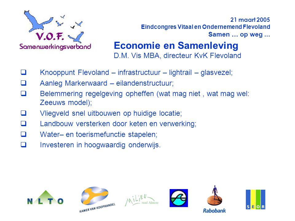  Knooppunt Flevoland – infrastructuur – lightrail – glasvezel;  Aanleg Markerwaard – eilandenstructuur;  Belemmering regelgeving opheffen (wat mag