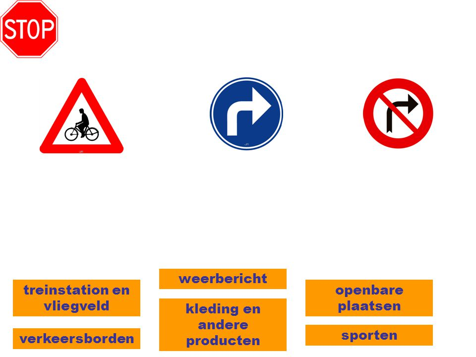 verkeersborden kleding en andere producten treinstation en vliegveld sporten weerbericht openbare plaatsen