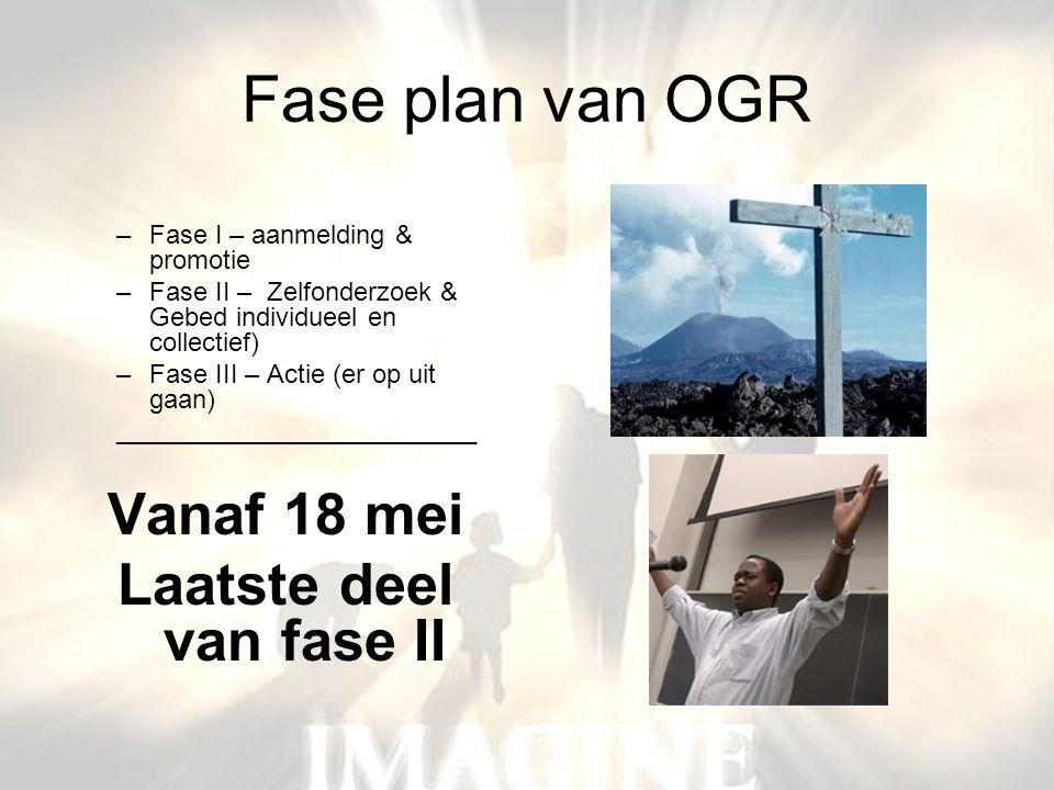 Fase plan van OGR –Fase I – aanmelding & promotie –Fase II – Zelfonderzoek & Gebed individueel en collectief) –Fase III – Actie (er op uit gaan) _____