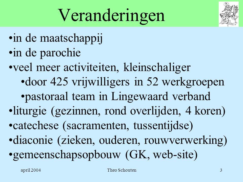 april 2004Theo Schouten3 Veranderingen •in de maatschappij •in de parochie •veel meer activiteiten, kleinschaliger •door 425 vrijwilligers in 52 werkg