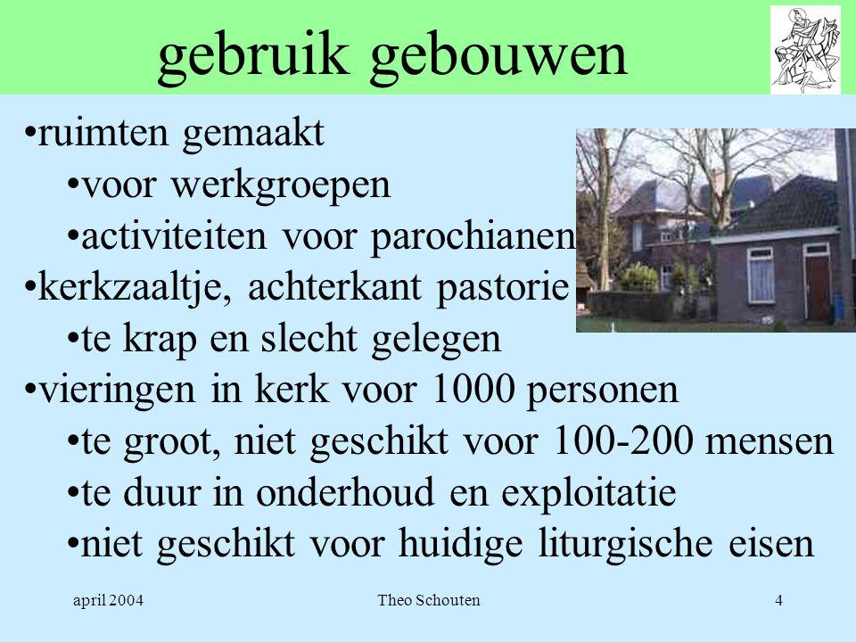 april 2004Theo Schouten4 gebruik gebouwen •ruimten gemaakt •voor werkgroepen •activiteiten voor parochianen •kerkzaaltje, achterkant pastorie •te krap