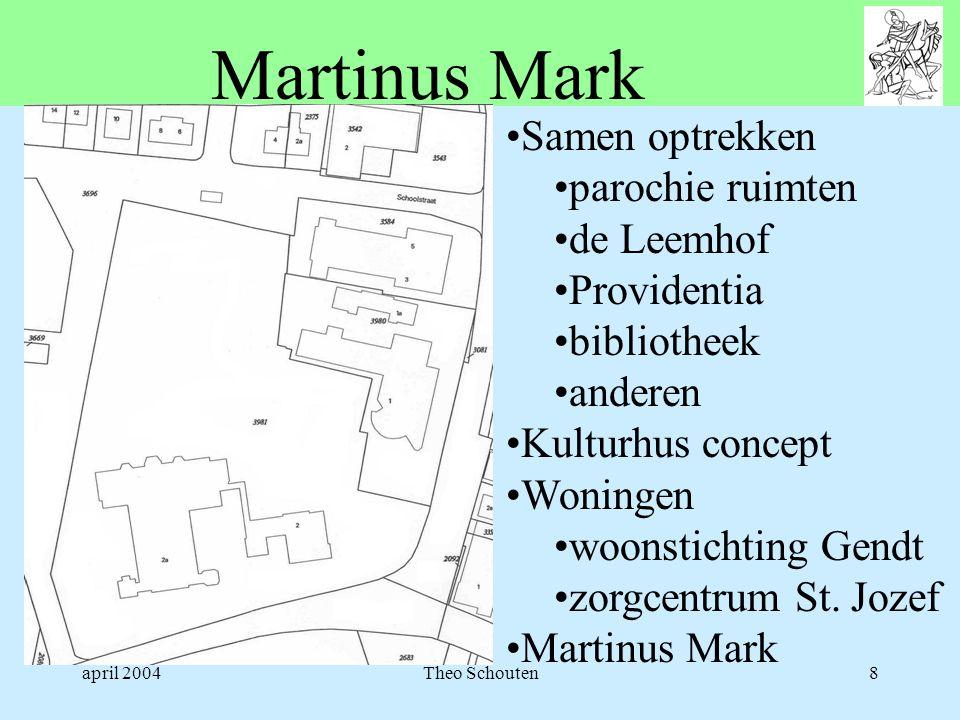 april 2004Theo Schouten8 Martinus Mark •Samen optrekken •parochie ruimten •de Leemhof •Providentia •bibliotheek •anderen •Kulturhus concept •Woningen