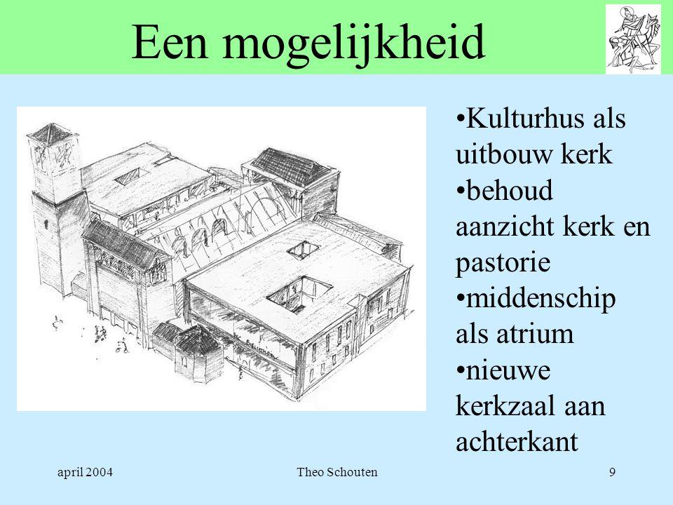 april 2004Theo Schouten9 Een mogelijkheid •Kulturhus als uitbouw kerk •behoud aanzicht kerk en pastorie •middenschip als atrium •nieuwe kerkzaal aan a