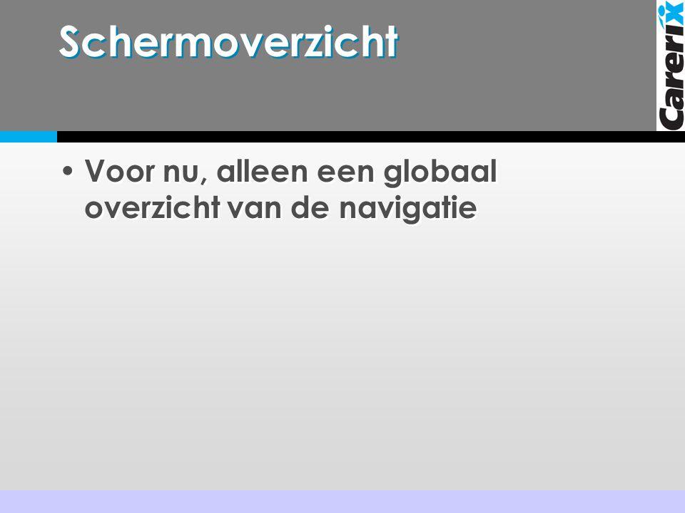 Schermoverzicht • Voor nu, alleen een globaal overzicht van de navigatie