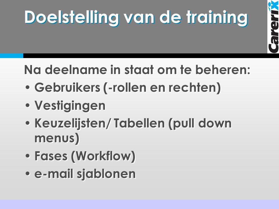 Doelstelling van de training Na deelname in staat om te beheren: • Gebruikers (-rollen en rechten) • Vestigingen • Keuzelijsten/ Tabellen (pull down menus) • Fases (Workflow) • e-mail sjablonen Na deelname in staat om te beheren: • Gebruikers (-rollen en rechten) • Vestigingen • Keuzelijsten/ Tabellen (pull down menus) • Fases (Workflow) • e-mail sjablonen