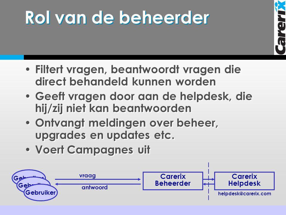 Rol van de beheerder • Filtert vragen, beantwoordt vragen die direct behandeld kunnen worden • Geeft vragen door aan de helpdesk, die hij/zij niet kan