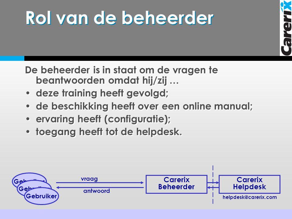 Rol van de beheerder De beheerder is in staat om de vragen te beantwoorden omdat hij/zij … • deze training heeft gevolgd; • de beschikking heeft over een online manual; • ervaring heeft (configuratie); • toegang heeft tot de helpdesk.