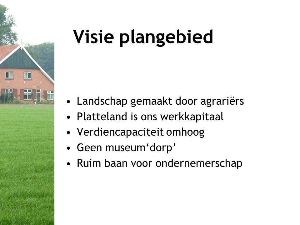 Visie plangebied •Landschap gemaakt door agrariërs •Platteland is ons werkkapitaal •Verdiencapaciteit omhoog •Geen museum'dorp' •Ruim baan voor ondernemerschap