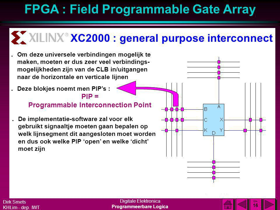 Dirk Smets KHLim - dep. IWT Digitale Elektronica Programmeerbare Logica FPGA : Field Programmable Gate Array DIA 15 DIA 15 XC2000 : general purpose in