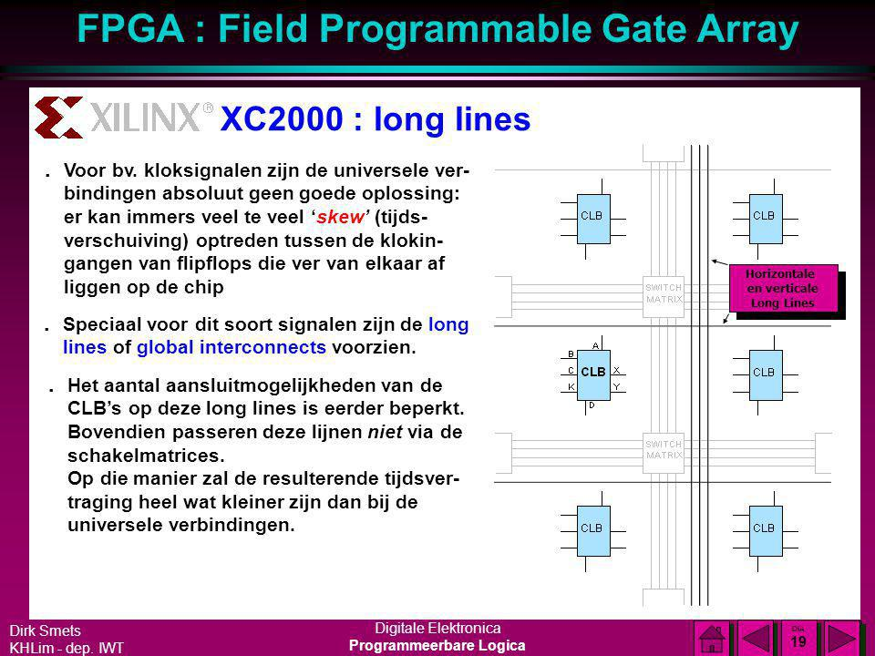 Dirk Smets KHLim - dep. IWT Digitale Elektronica Programmeerbare Logica FPGA : Field Programmable Gate Array DIA 18 DIA 18 XC2000 : general purpose in