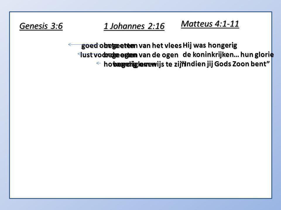 goed om te eten lust voor de ogen begerig om wijs te zijn Genesis 3:6 1 Johannes 2:16 begeerten van het vlees begeerten van de ogen hovaardig leven Matteus 4:1-11 Hij was hongerig Hij was hongerig de koninkrijken… hun glorie de koninkrijken… hun glorie Indien jij Gods Zoon bent