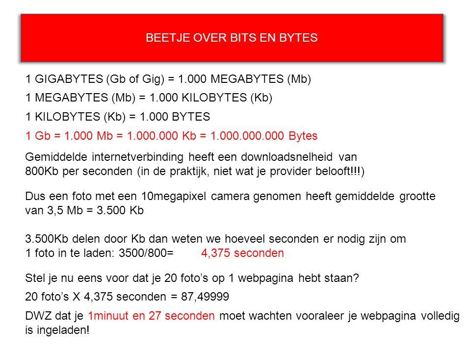 BEETJE OVER BITS EN BYTES 1 GIGABYTES (Gb of Gig) = 1.000 MEGABYTES (Mb) 1 KILOBYTES (Kb) = 1.000 BYTES Gemiddelde internetverbinding heeft een downlo