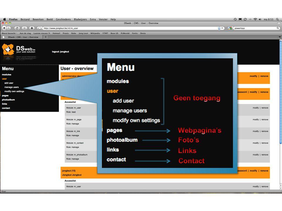 Invullen webadres voorafgegaan door http:// Openen van de webpagina in hetzelfde venster of een nieuw venster Titel van de webpagina (Verschijnt in de titelbalk) BevestigAnnuleer Mac gebruikers opgelet, dit werkt NIET in Safari wel in Firefox