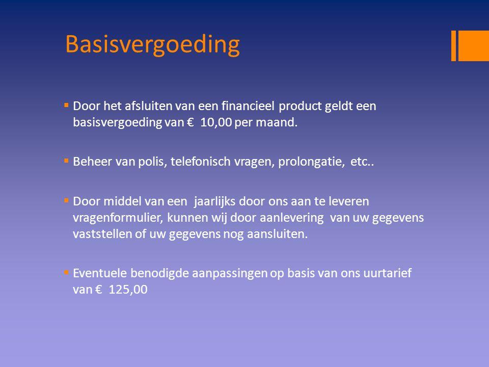 Basisvergoeding  Door het afsluiten van een financieel product geldt een basisvergoeding van € 10,00 per maand.