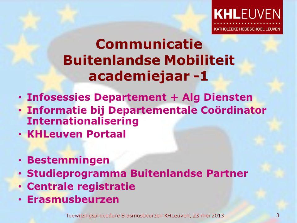 Communicatie Buitenlandse Mobiliteit academiejaar -1 • Infosessies Departement + Alg Diensten • Informatie bij Departementale Coördinator Internationa