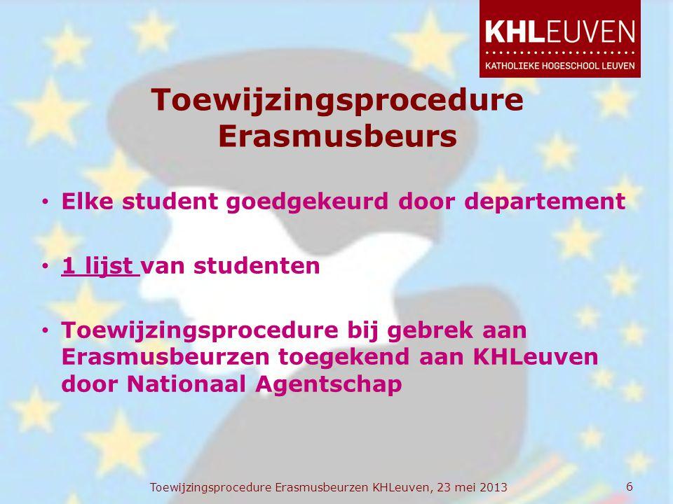 Toewijzingsprocedure Erasmusbeurs • Elke student goedgekeurd door departement • 1 lijst van studenten • Toewijzingsprocedure bij gebrek aan Erasmusbeu