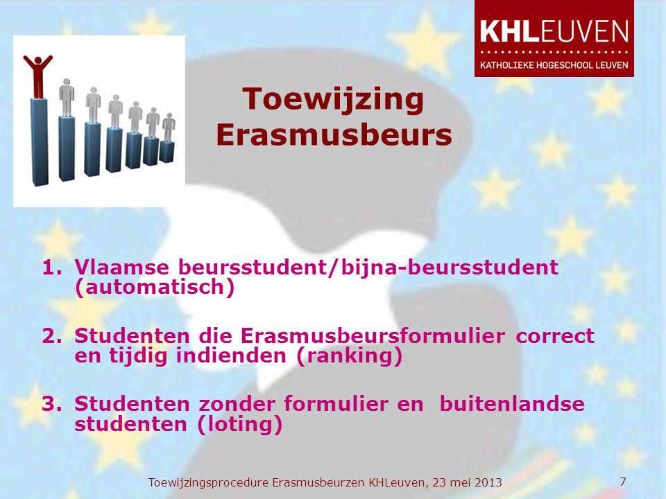 Toewijzing Erasmusbeurs 1.Vlaamse beursstudent/bijna-beursstudent (automatisch) 2.Studenten die Erasmusbeursformulier correct en tijdig indienden (ran