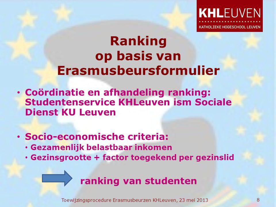 Ranking op basis van Erasmusbeursformulier • Coördinatie en afhandeling ranking: Studentenservice KHLeuven ism Sociale Dienst KU Leuven • Socio-econom