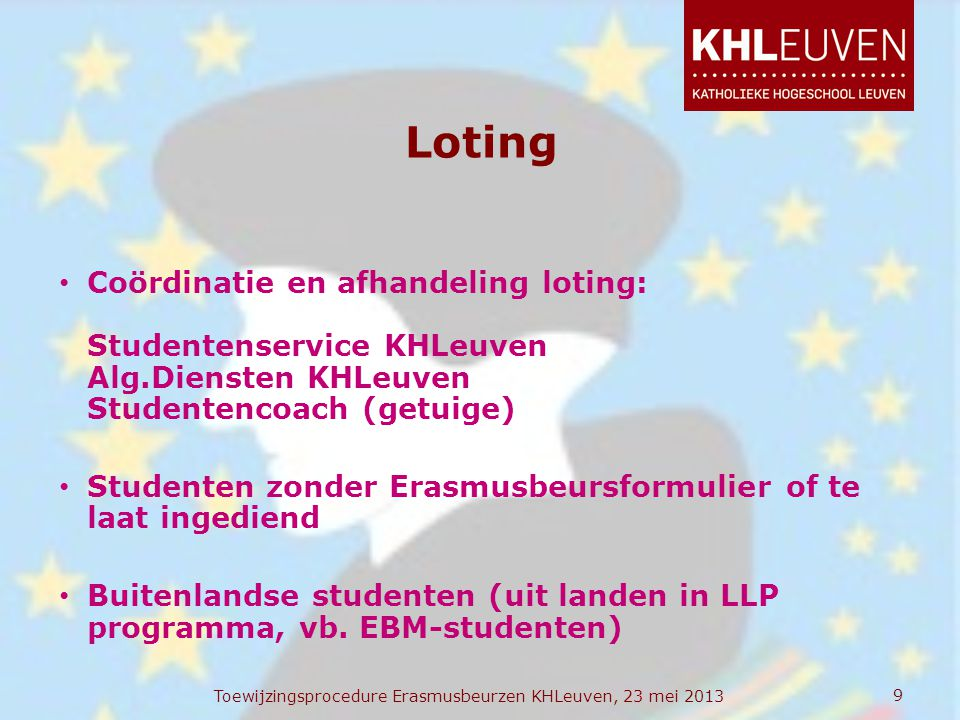 Loting • Coördinatie en afhandeling loting: Studentenservice KHLeuven Alg.Diensten KHLeuven Studentencoach (getuige) • Studenten zonder Erasmusbeursfo