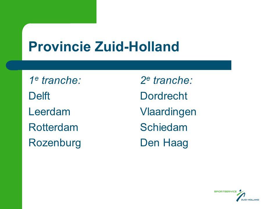 Provincie Zuid-Holland 1 e tranche:2 e tranche: DelftDordrecht LeerdamVlaardingen RotterdamSchiedam RozenburgDen Haag