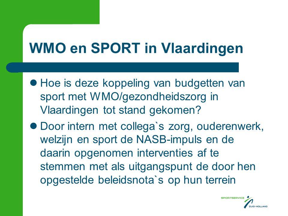 WMO en SPORT in Vlaardingen  Hoe is deze koppeling van budgetten van sport met WMO/gezondheidszorg in Vlaardingen tot stand gekomen?  Door intern me