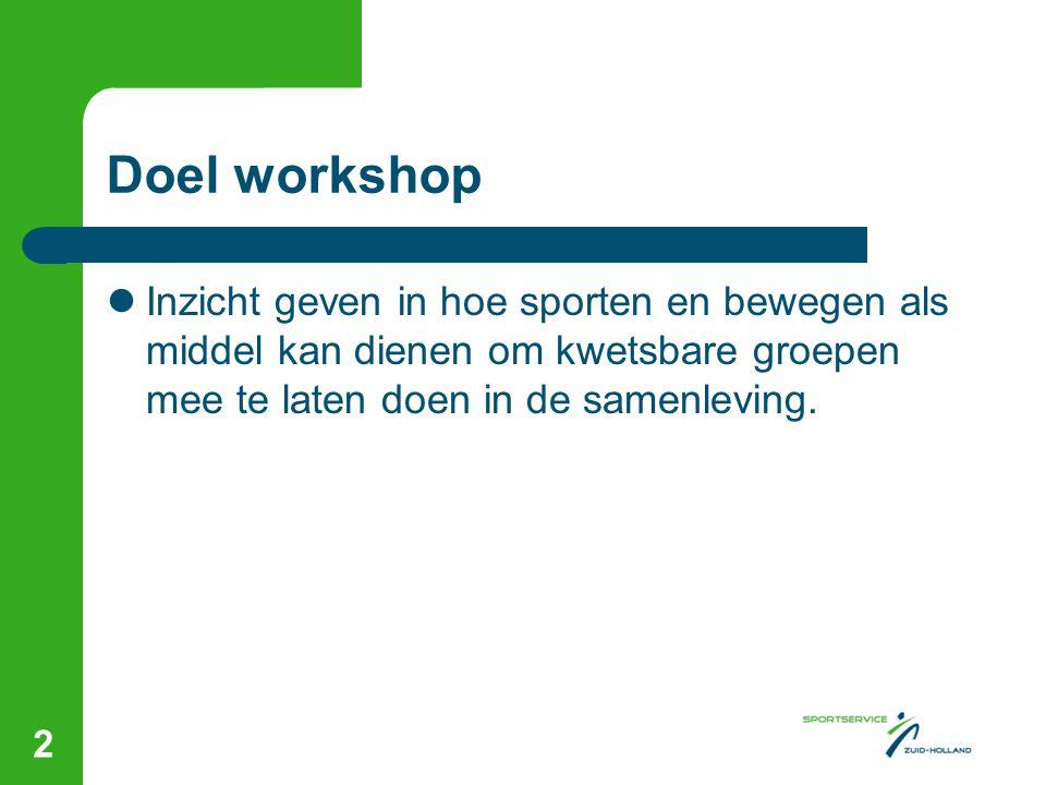 Doel workshop  Inzicht geven in hoe sporten en bewegen als middel kan dienen om kwetsbare groepen mee te laten doen in de samenleving. 2