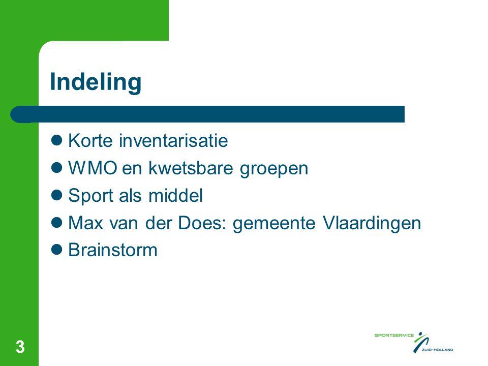 WMO en SPORT in Vlaardingen  Budget BOS ad € 60.000 vanaf 2010 gefinancierd vanuit de WMO  2010 t/m 2013 NASB-impuls met een totaal budget ad € 1.011.688  Rijksbijdrage € 505.844  Co-financiering gemeente € 505.844 waarvan € 240.000 vanuit WMO (budget BOS)