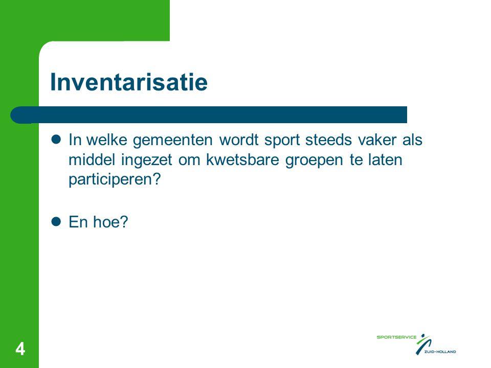 Inventarisatie  In welke gemeenten wordt sport steeds vaker als middel ingezet om kwetsbare groepen te laten participeren?  En hoe? 4