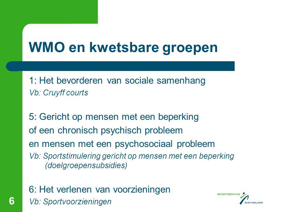 WMO en kwetsbare groepen 1: Het bevorderen van sociale samenhang Vb: Cruyff courts 5: Gericht op mensen met een beperking of een chronisch psychisch p