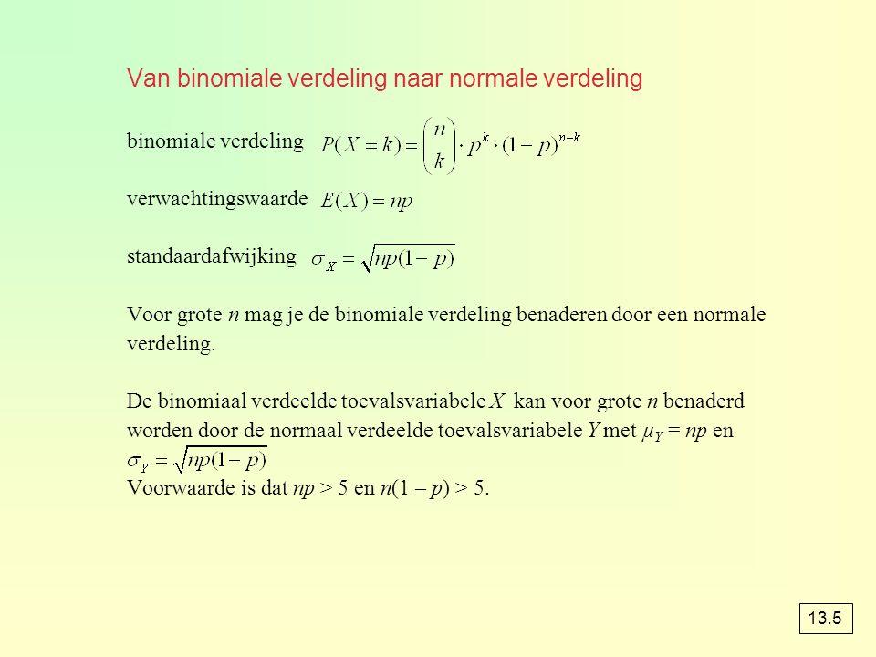 opgave 61 a P(X ≤ 100) = binomcdf(300, 0.37, 100) ≈ 0,104 Y is normaal verdeeld met µ Y = µ X = np = 300 · 0,37 = 111 en P(X ≤ 100) = P(Y ≤ 100,5) = normalcdf(–10 99, 100.5, 111, ) ≈ 0,105 b