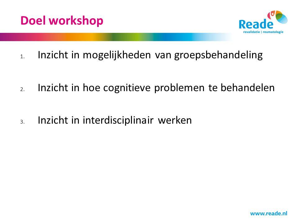 Doel workshop 1. Inzicht in mogelijkheden van groepsbehandeling 2. Inzicht in hoe cognitieve problemen te behandelen 3. Inzicht in interdisciplinair w