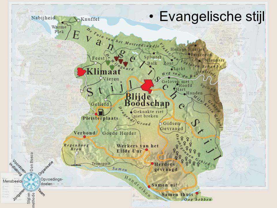 •Evangelische stijl Mensbeeld Stijl en methode Opvoedings- doelen Jongeren Team Organisatie Voordoen- in-dialoog Don Bosco