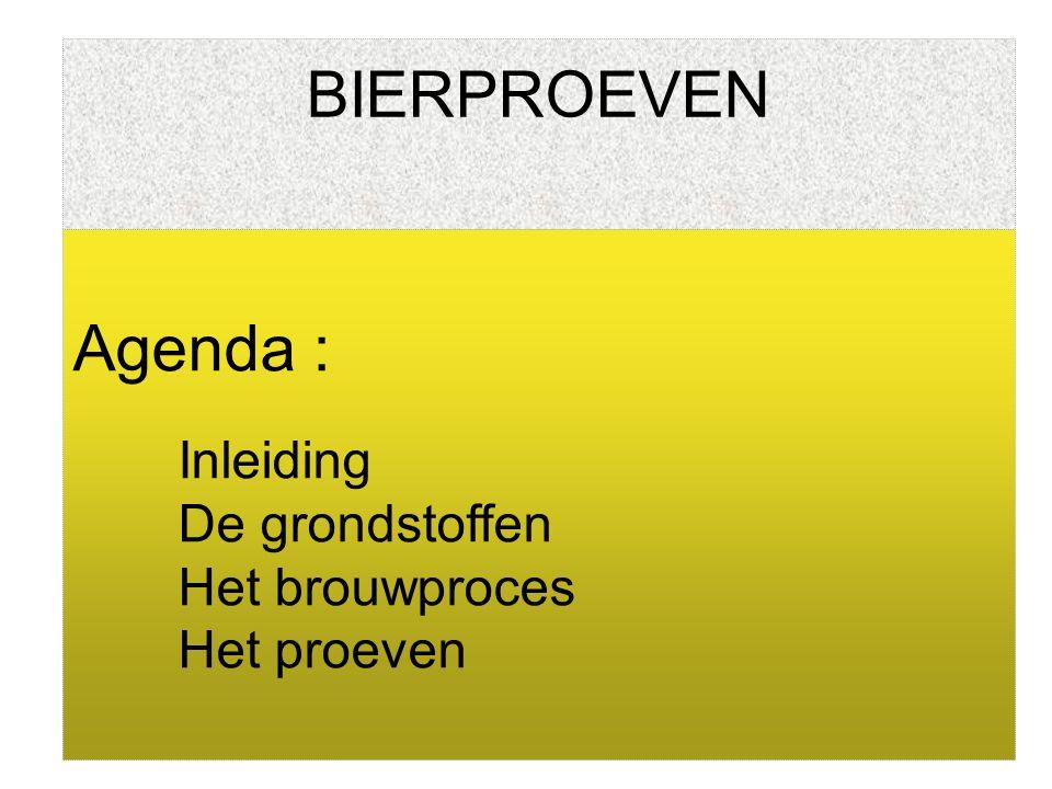 BIERPROEVEN Agenda : Inleiding De grondstoffen Het brouwproces Het proeven