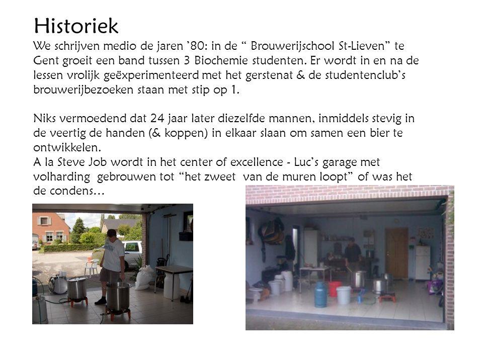 """Historiek We schrijven medio de jaren '80: in de """" Brouwerijschool St-Lieven"""" te Gent groeit een band tussen 3 Biochemie studenten. Er wordt in en na"""