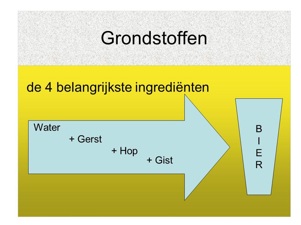 Grondstoffen Water Verschillende kwaliteit = verschillend bier Vroeger: elke brouwerij eigen bron Nu: water is 100% corrigeerbaar 1 liter bier  7 liter water